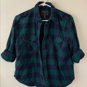 F21 Green/Navy Plaid Flannel
